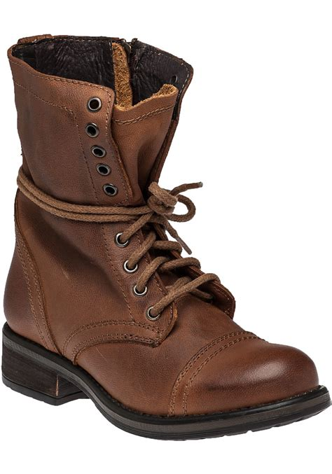 leather combat boots steve madden troopa 2 0 leather combat boots in brown lyst