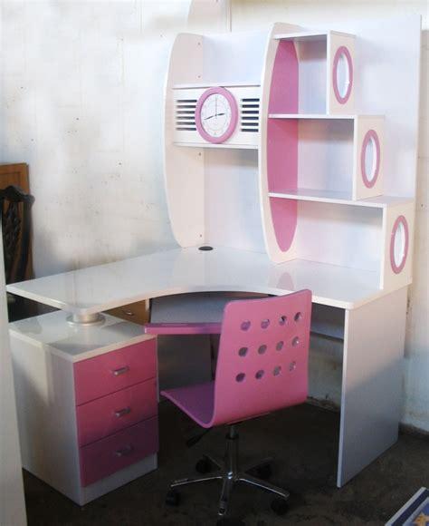 white pink corner computer desk