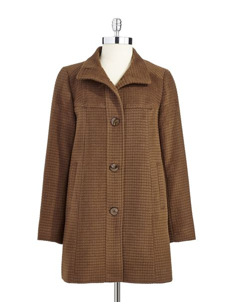 Quilted Wool Coat by Jones New York Wool Quilted Coat In Brown Lyst