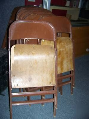 lot   metal folding chairs  wood seat