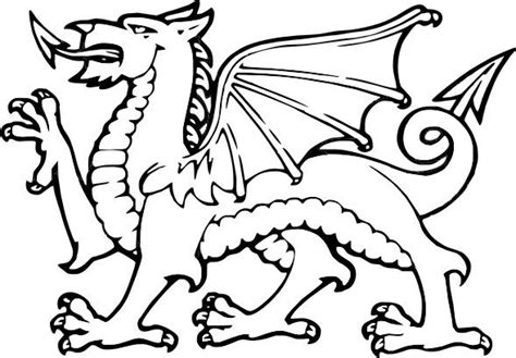 welsh dragon coloring page simple welsh dragon template google search celticish