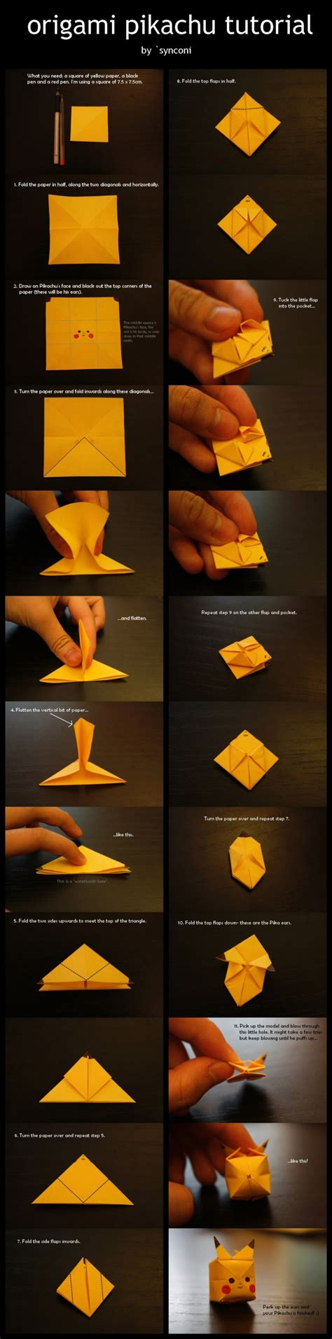 Tutorial Origami Pokemon   how to make your own origami pikachu designtaxi com