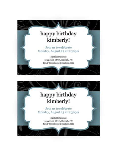 Party Invitations Blue Ribbon Design 2 Per Page Office Templates Word Invitation Template 2 Per Page