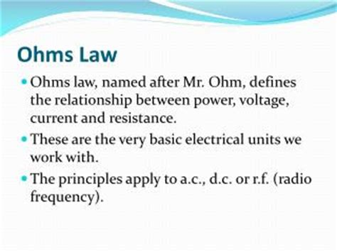 what is the relationship between resistance and resistor ppt ohms powerpoint presentation id 4890755