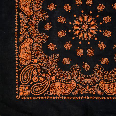 black and black and orange bandana 22 quot cowboy biker