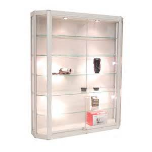 Wall Glass Display Cabinet With Lights Angled Wall Mounted Display Cabinet W Tempered Glass