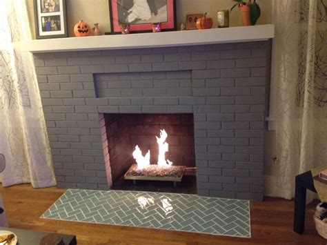 herringbone glass tile fireplace hearth fireplace