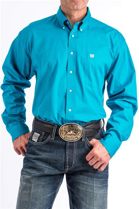 Blue Western Shirt cinch s solid turquoise button western shirt