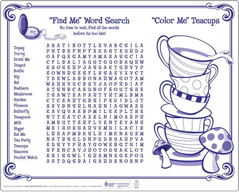 alice in wonderland printable word search topsy turvy tea party activity placemats 1 piece upper