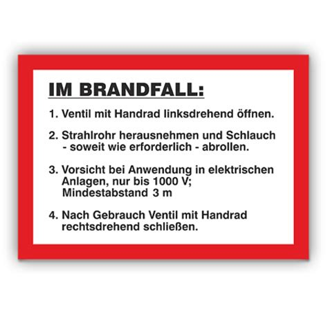 Aufkleber Wandhydrant by Brandschutzschilder Anweisung F 252 R Wandhydrant Typ F Typ S
