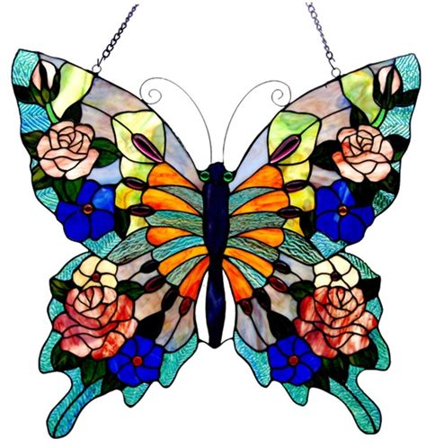 Stained Glass Butterfly L by Colorful Butterfly Style Stained Cut Glass Window