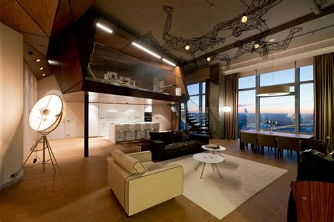 Open Concept Kitchen Designs Penthouse Apartment In Moscow Looks Over The Entire City