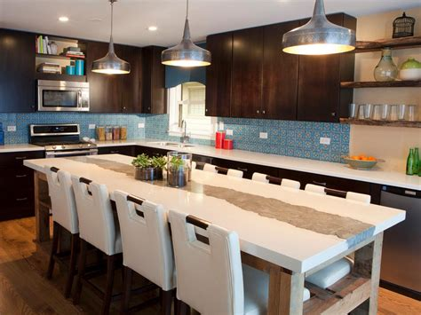 brown and blue contemporary kitchen with large kitchen