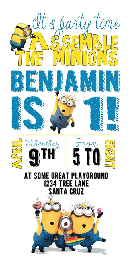 minion invitation card template diy design den minion birthday with free printables
