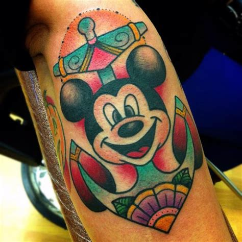 new school mouse tattoo new school mickey mouse anchor tattoo by alex strangler