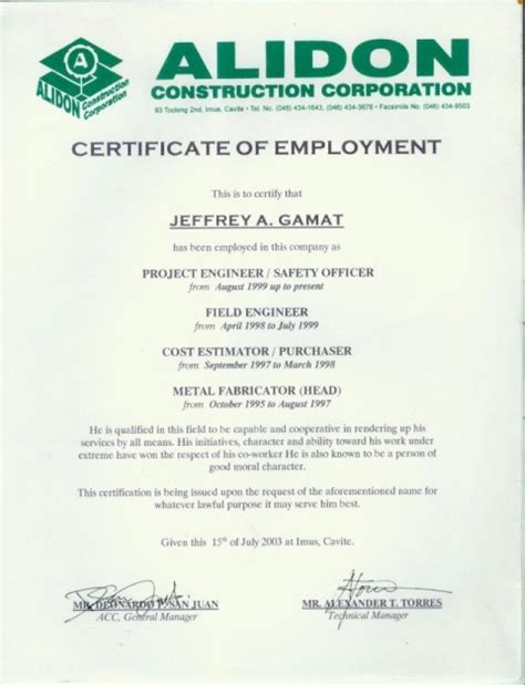 certification letter in the philippines sle employment certificate philippines