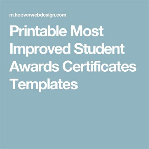 award certificate templates overall most improved pinterest