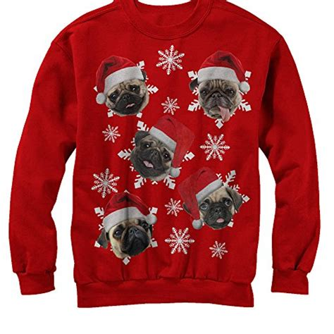 womens pug sweater lost gods sweater pug snowflakes womens graphic sweatshirt
