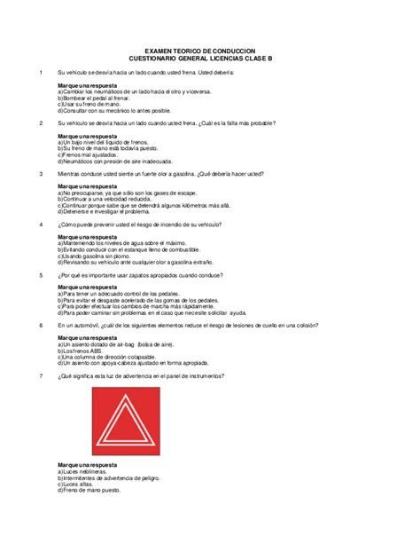 preguntas licencia clase a cuestionario clase b