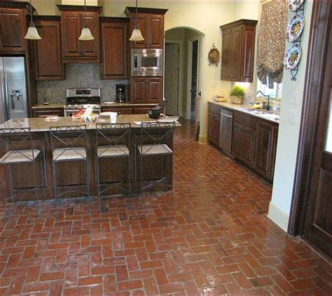 Cabinet Kitchen Design antique brick floor tile home design ideas