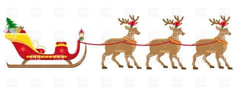 santa s christmas sleigh with reindeer harness royalty