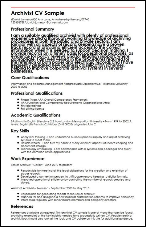 archivist cv sle myperfectcv