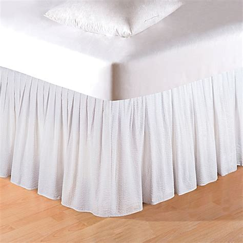 bed bath and beyond bed skirts buy silver mistletoe seersucker king bed skirt in white