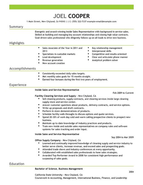 Resume Inside Sales Representative Inside Sales Resume Exles Maintenance Janitorial
