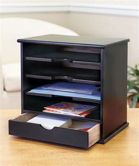 Mail Desk Organizer New Solid Wood Mini Shelf 1 Drawer 4 Slot Desk Mail Holder Organizer Black Ebay