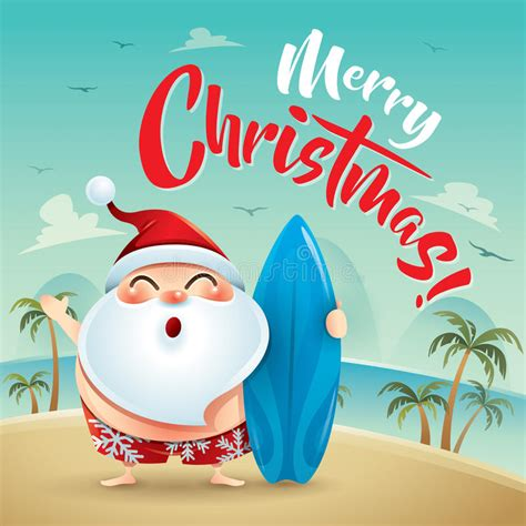 merry christmas santa claus   beach holiday stock vector illustration  activities