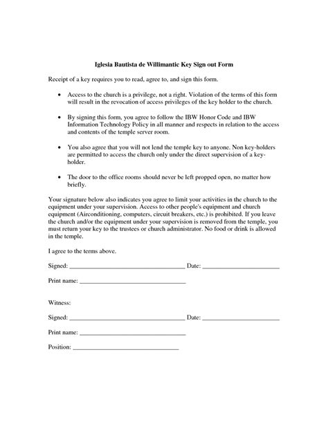 employee key holder agreement template 28 images of key authorization form template tonibest