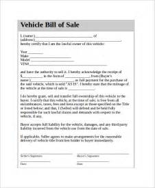 Bill Of Sale Agreement Template by Vehicle Bill Of Sale Template 11 Free Word Pdf