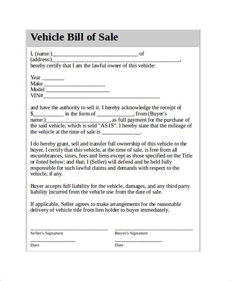 vehicle bill of sale template 11 free word pdf