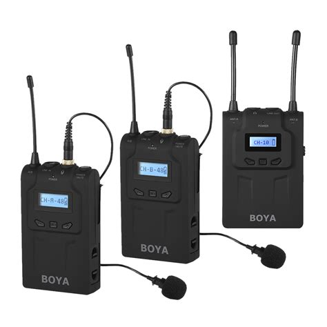 Mic Boya By Wm 5 Wireless For Handy Shooting boya by wm8 pro clip on uhf dual channel wireless mic microphone system audio recorder 2
