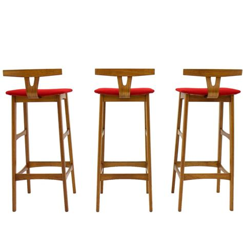 teak wood bar stools erik buch bar stools teak wood red kvadrat fabric