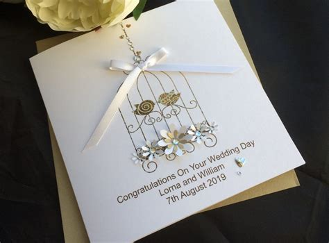 Handmade Personalised Cards Uk - handmade wedding card lace bird cage handmade cards