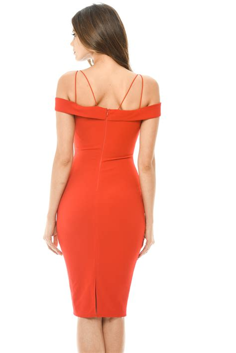 Frilled Strappy Midi Dress ax womens midi dress bodycon shoulder