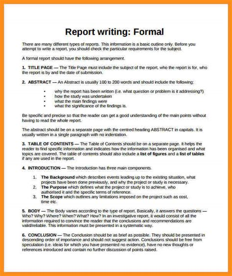 template on how to write a report 7 formal report writing exle parts of resume