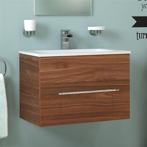 Aspen Bathroom Furniture Aspen 600 Wall Mounted Walnut Vanity Unit