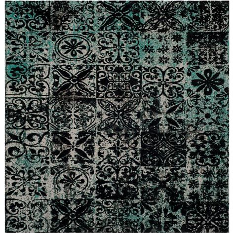 black and teal area rug safavieh classic vintage teal black 6 ft x 6 ft square area rug clv221a 6sq the home depot