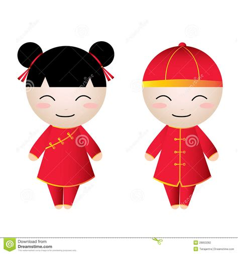 Cute Figurines by Chinese Boy Greetings Stock Photography Image 28853282