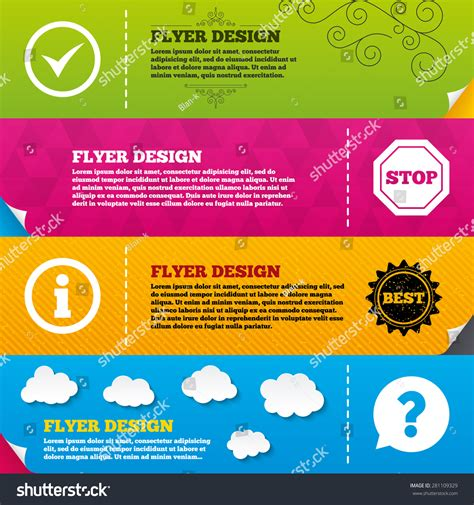 information flyer template flyer brochure designs information icons stop stock vector