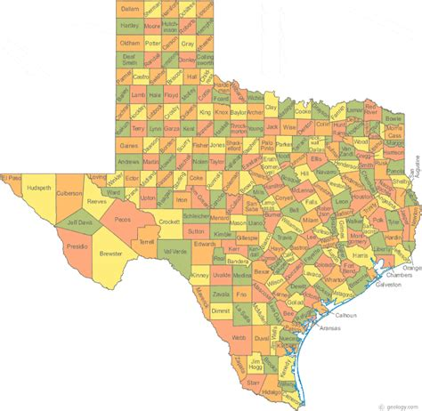 texas county map with city names map of texas