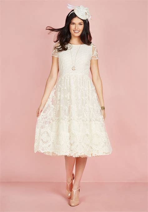Dress Viory bliss way up midi dress in ivory mod retro vintage