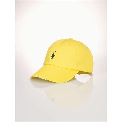 polo ralph cotton chino baseball cap in yellow for