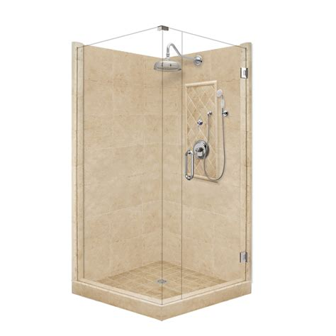 american bath factory shower kit shop american bath factory panel medium fiberglass and plastic square corner shower kit actual