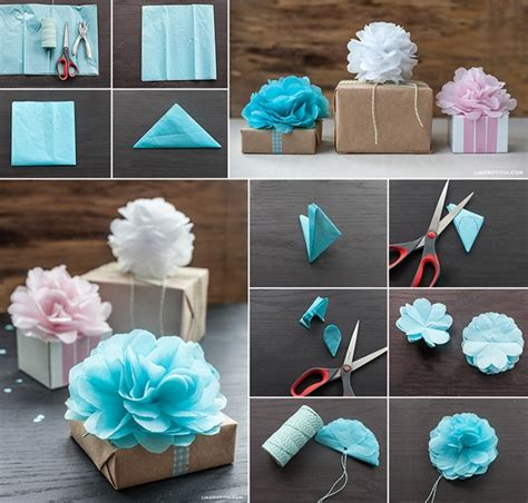 Make Flowers With Tissue Paper - how to make tissue paper flowers for gift wrapping how