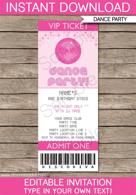 printable tickets invitations dance party ticket invitations birthday party