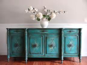 Decorating Dining Room Buffets And Sideboards vintage hand painted french country vintage turquoise
