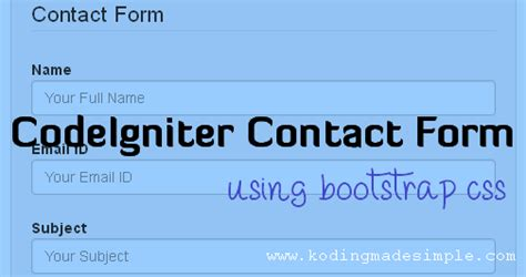 codeigniter contact form tutorial with mail sending option